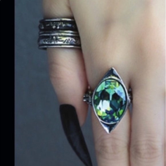Double Stack Pewter Angel Rings by Alchemy 7-7 25 NWT